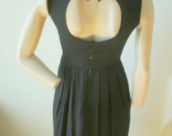 80s Vintage black Lanz rayon fitted bodice back bow circular cut-out sleeveless day dress 2 P USA