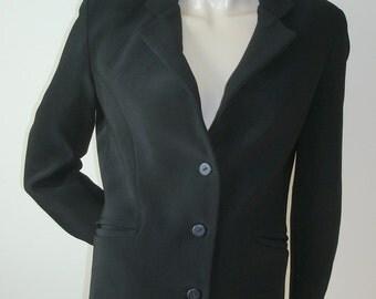 90s vintage black Equestrian Designs Santa Barbara ribbed tactel fitted 3 button blazer jacket S
