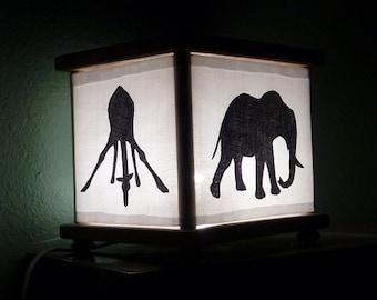 African Animal Night Light Rhino Elephant Gorilla Giraffe in Black Lamp