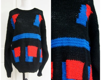 90s Pop Art Sweater Black Medium Oversize Hipster Geometric Vintage Knit