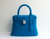 Crochet Kelly bag - blue handmade purse with the style of the famous Hermes bag