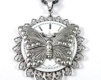 steampunk Necklace - SALE Clockwork Butterfly Watch Face Teardrop Steampunk Necklace Handmade by Compass Rose Design