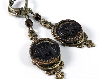 Antique Button Earrings - Victorian Button Jewelry - Bronze Coffee Brass - Victorian Lace - Victorian Edwardian Jewelry