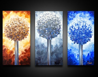 3 Piece Wall Art - abstract canvas art, painting of trees,  large abstract wall art, 3 piece canvas art, CANVAS art PRINTs, tree wall art