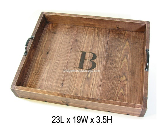 Monogrammed ottoman tray large wood coffee by bridgewoodplace