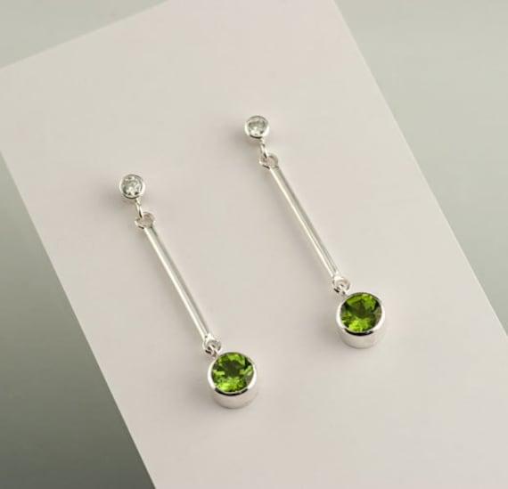 Modern Peridot and Moissanite Sterling Silver Dangle Earrings, Birthstone earrings, Wedding earrings, Diamond like Earrings