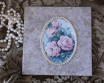 Pink roses and Pearls, Romantic cottage wall tile, beige, repurposed decor