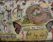 Christian art Inspirational art Mixed media collage Faith art Original Collage Walk by faith Bird collage Christian gift Let go and let God