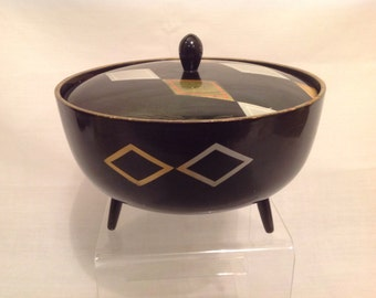 Vintage Retro Bowl With Legs Black & Silver Triangle Design / Spool Handle Matching Top
