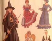 Girls' Costume Sewing Pattern Pilgrim Angel Witch Homestead Lady 2-4, 6-8, 10-12 UNCUT 2003 Dress Cape Hat Apron Collar