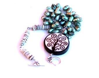 Green Earth bracelet / pearls / green oyster heishi shells /  swirl tree / wire wrapped gift