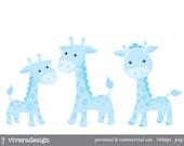 Blue Giraffe Digital Clip Art
