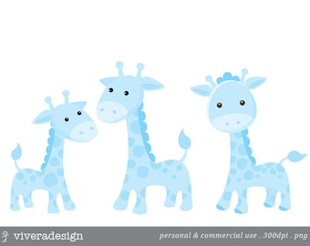 Blue Giraffe Digital Clip Art