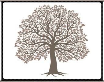 The Big Tree Digital Clip Art - Charcoal Grey - Signature Tree - Family Tree - Instant Download