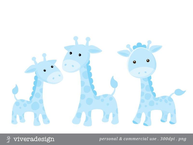 Baby Giraffe Clipart Blue Blue Giraffe Digital C...