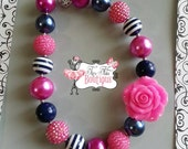 NAVY Blue and PINK FLOWER Chunky Necklace- Chunky bubblegum necklace, Girls chunky necklace, Gumball necklace, Chunky beaded necklace