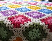 "Colour Palette Crochet Afghan Blanket GRANNY SQUARES Throw 48"" x 48"""