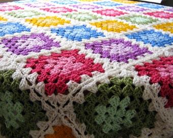 "GRANNY SQUARES Color Palette Crochet Afghan Blanket Throw 48"" x 48"""