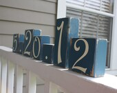 Something Blue Wedding Shower Wooden Sign Blocks, Wedding Date Blocks, Wood Number Table Blocks, Special Date Personalized Anniversary Gift