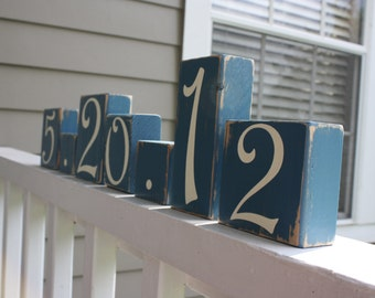 CUSTOM WEDDING BLOCKS - Personalized Bridal Shower Centerpiece - Anniversary Date - Table Numbers - Something Blue Decor