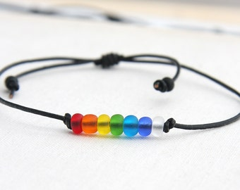 Rainbow Bracelet Minimal Bracelet Friendship Bracelet Leather Bracelet Beach Frosted Glass Beads Colorful Bracelet lgbt Christmas Gift Idea