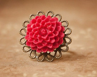 Handmade Red Flower Ring Red Resin Flower Ring Red Ring Antiqued Gold Ring