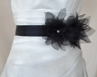 Handcraft Black Lotus Wedding Bridal sash Belt