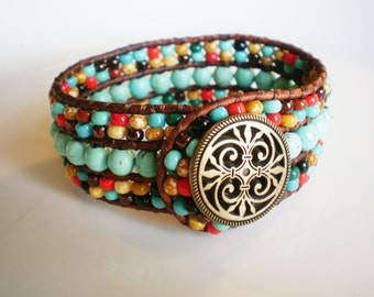Turquoise Jewelry Cuff Southwestern Leather Cuff Beadwork Cuff Bracelet Beaded Leather Cuff