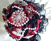 Brooch bouquet Victorian  Red,black brooch wedding bouquet  brooch bridal bouquet, bridal wedding brooch bouquet