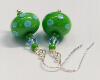 Limey Apple and Turquoise Dotty Earrings - lampwork, unique, lime, turquoise, artisan, earrings, lightweight, silver