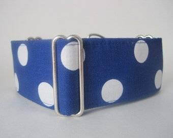Blue Martingale Collar, Polka Dot Martingale Collar, Greyhound Martingale Collar, Polka Dot Dog Collar, Wide Dog Collar