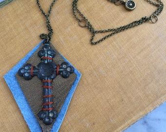 Leather  Necklace, cross necklace, tribal necklace, hippie necklace, folk necklace, chain necklace, by Zasra