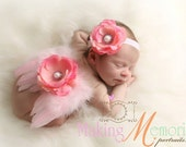 Baby Pink Feather Wing Set - Newborn Feather Wings - Pink feather Butterfly Wings - Pink Newborn Wing Set