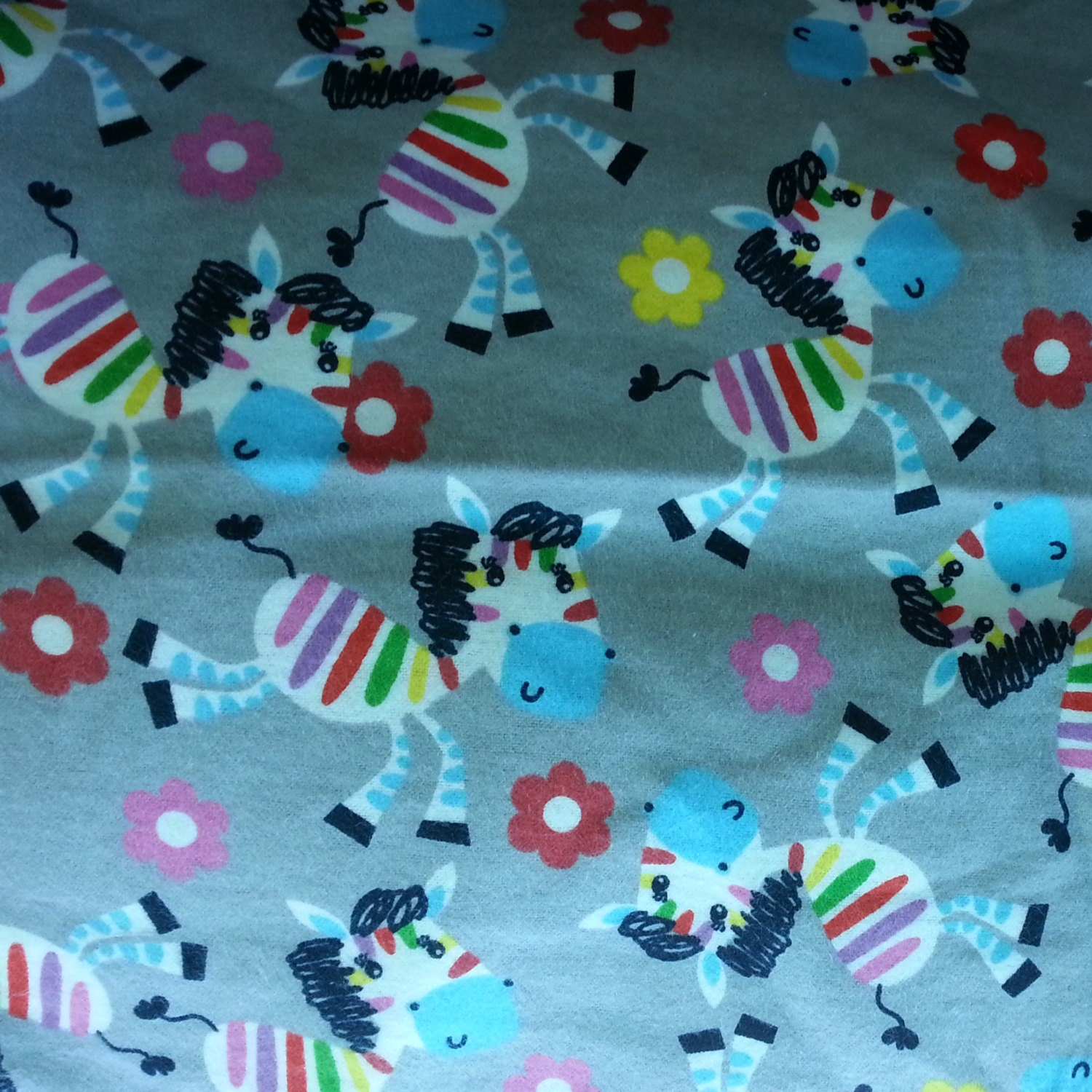 Kids flannel fabric with zebras horse pony by for Horse fabric for kids