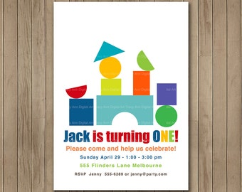 First Birthday Invitation, Building Blocks, 1st Birthday Invite, Printable Digital, 1st, 2nd, 3rd, 4th, 5th Birthday