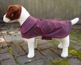 Burgundy Faux Leather Dog Coat - Size Small 12 to 14 Inch Back Length- Or Custom Size