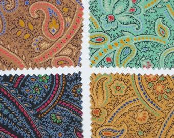 Vintage Fabric / 1920s Fabric 1930s Fabric / Dress Fabric / Silk Fabric Paisley Fabric Sample Set / Art Deco Fabric