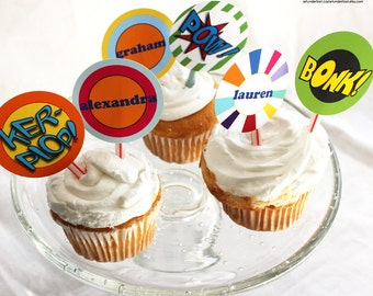 Comic Birthday Party CAKE and Cupcake Topper Editable PDF you print from home