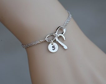 Infinity bow initial bracelet,Monogram knot bracelet,hand stamped charm,custom font,note card,Bridesmaid gift,bridal party,graduation gift