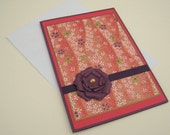 Customizable Japanese Washi Greeting Card Orange and Purple Floral Blank Inside- You Choose Sentiment on Front