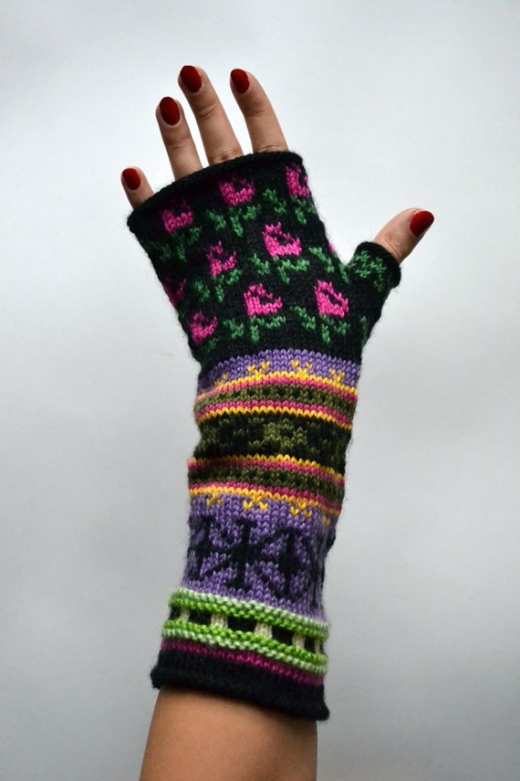 Long Colorful Fingerless gloves- Hand-knit Fingerless Gloves-Colorful Fingerless with Flowers- Luxurious Gloves nO 14.