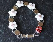 5 Petal Flower Bracelet with Bee or LadyBug and Swarovski Crystals by Kim Lugar