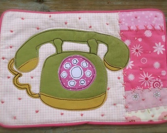 Mini Quilted Mug Rug, Retro telephone, large coaster