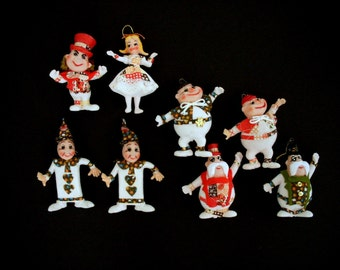 Set of 8 - 50s Mid Century Christmas Ornaments - Alice In Wonderland Christmas Decorations - Alice, Mad Hatter - Vintage Christmas Ornaments