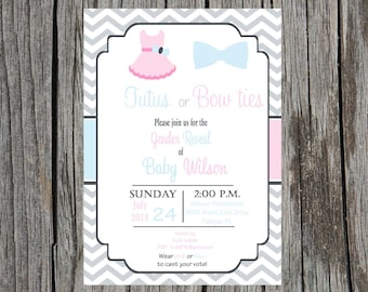 Gender Reveal Party Invitation, tutus or bowties gender reveal shower, custom and printable