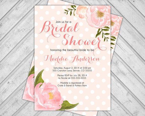 Watercolor flower invitations - blush bridal shower invite floral ...