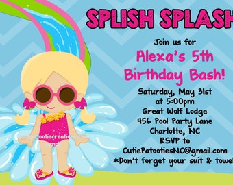 Pool Party Birthday Invitation - Printable or Printed - Water Slide Birthday Party Invitations - Indoor Pool Party Invite for Twins Siblings