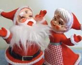 Flocked Christmas Xmas Santa and Mrs Claus - Japan