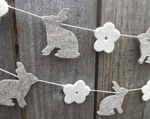 Rabbit and Daisy Garland, Nursery Garland, Felt Garland, Nursery Decor, Rabbit Baby Shower, Spring Garland, Rabbit Decor, Rabbit Banner,