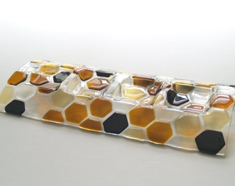 Dark Amber, Light Amber, Black and Clear: Beehive Collection Candleholder Fused Art Glass